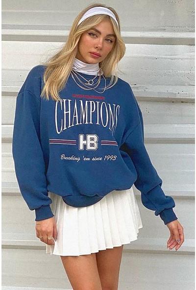 Mad Girls Mavi Kadın Sweatshirt MG930