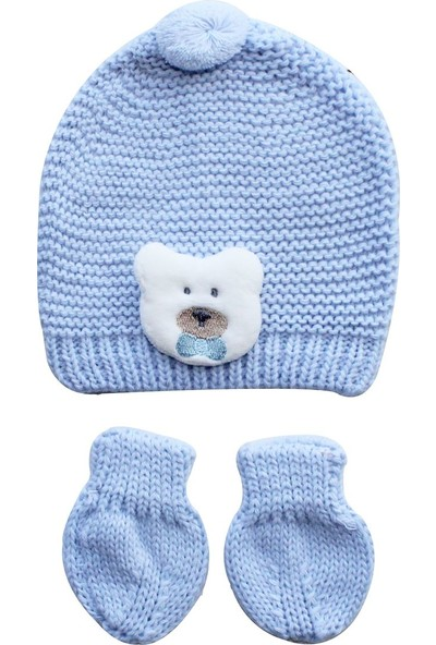 Bebekodam by BebekOdam Triko Ayıcıklı Bebek Eldiven Bere Set - Mavi