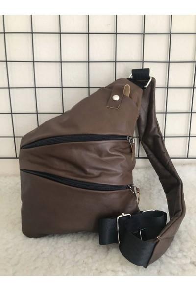 Cross Bag Gizli Çanta Hakiki Deri Kahverengi