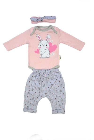 Necix's Zeydembebe Necix's Kız Bebek Pembe Tavşan Baskılı Bandanalı 3'lü Takım