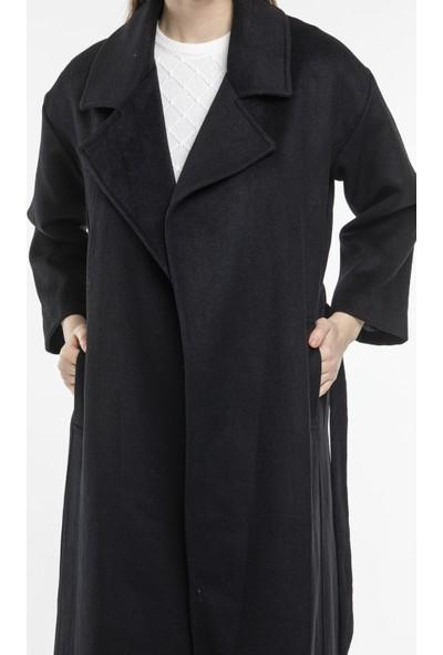 Hot Fashion Kadın Siyah Kuşaklı Kaşe Kaban