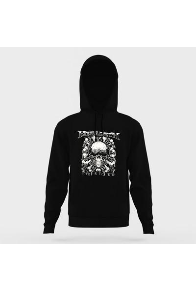 Tshirthane Megadeth Baskılı Siyah Erkek Örme Kapşonlu Sweatshirt Uzun Kol