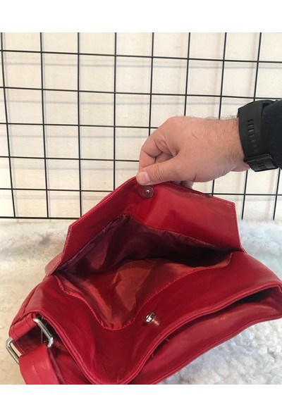 Bag Heybe Fermuarlı Hakiki Deri Çanta 4 Çepli Kırmızı