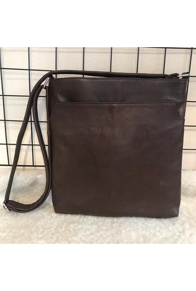 Bag Heybe Fermuarlı Hakiki Deri Çanta 4 Çepli Kahverengi