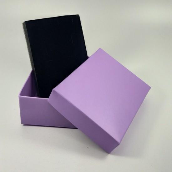Özer Kutu Lila Karton Kolye & Mini Set Kutusu (Içi Süngerli) 24'lü Paket