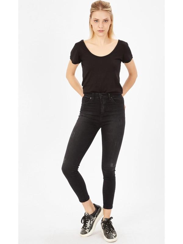 Armalife Taşlanmış Lazerli Yüksek Bel Likralı Pantolon - Taşlanmış Siyah