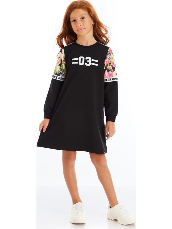 Colorinas Modern Romance Kolu Baskılı Elbise Siyah