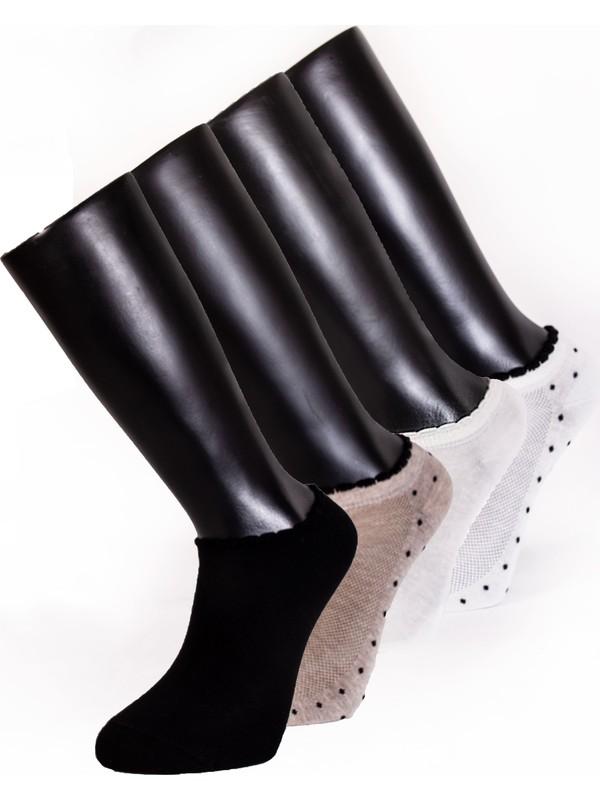 Davetta 6'lı Dikişsiz Renkli Pamuk Penye Patik Çorap