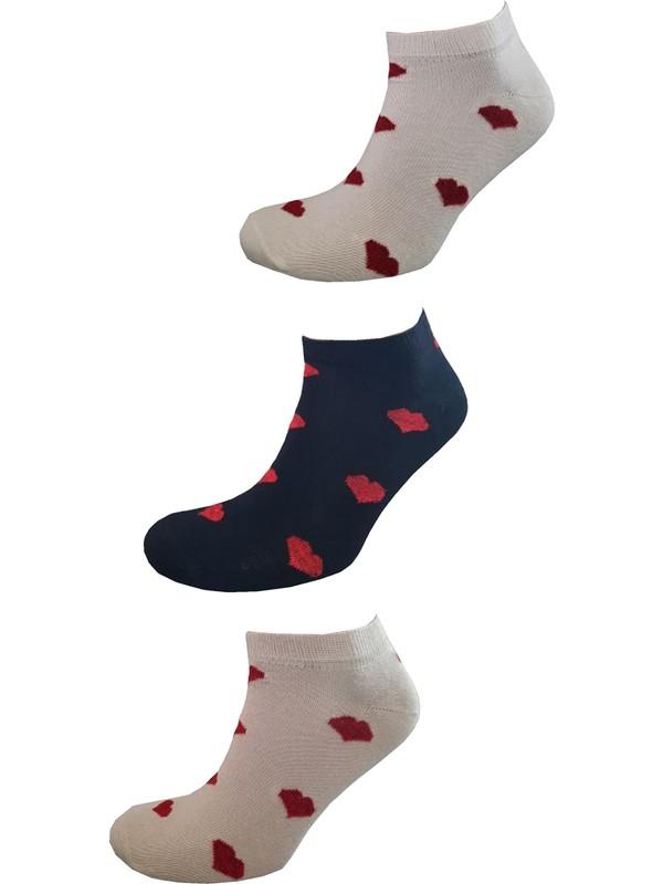 Igloo Socks Igloo Simli Kalp Desenli Likralı 3'lü Kadın Patik