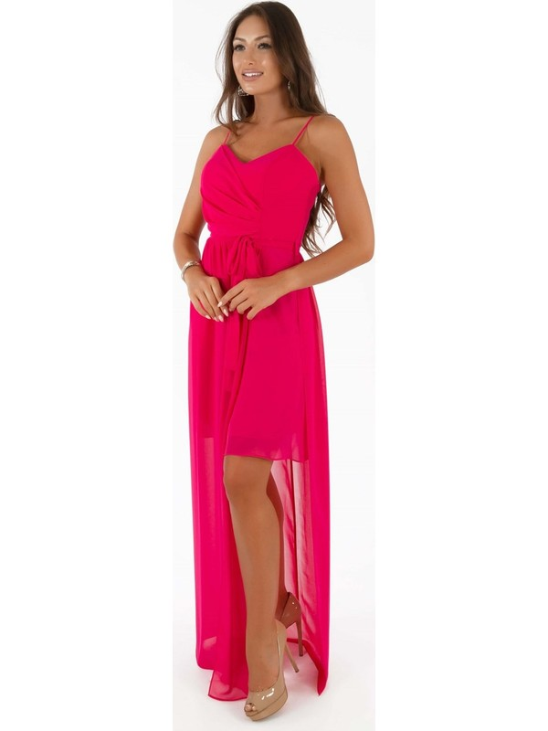 Carmen Fuşya Şifon Kalp Yaka Uzun Abiye Elbise
