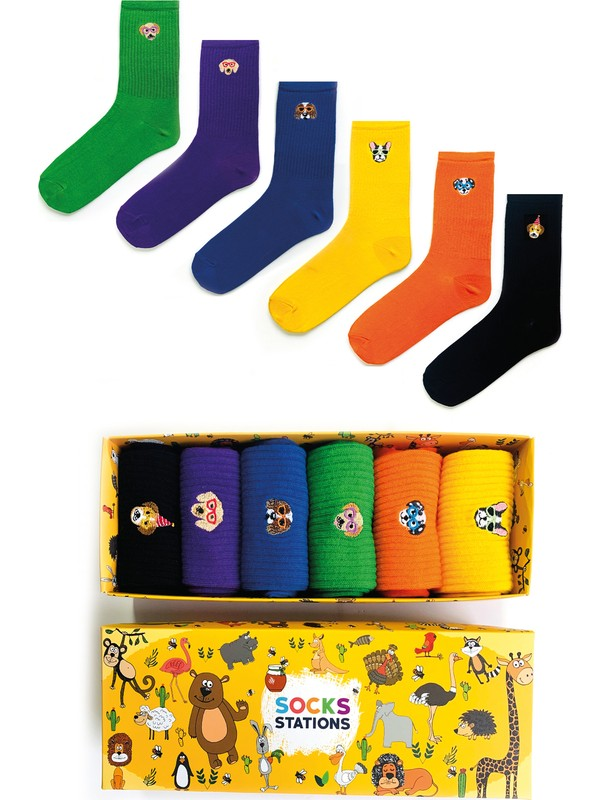 Socks Stations 6'lı Köpek Nakışlı Renkli Desenli Çorap Kutusu