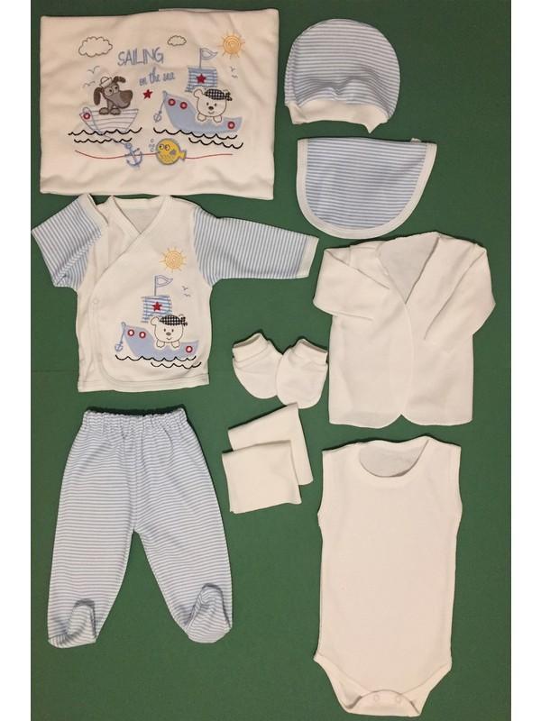 Erkek Bebek 10 Parça Hastane Çıkışı Zıbın Takımı %100 Pamuk