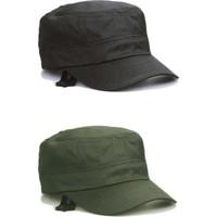 Onesize Fashion Castro Siyah ve Haki Şapka İkili Set