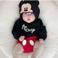 Murat Baby Bebek Mickey Baskılı Kapüşonlu Zıbın