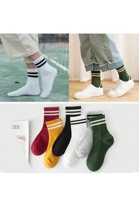 Fuba Unisex 6'lı Karışık Renkli Çizgili Tenis Çorabı
