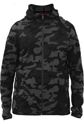 John Frank Erkek Siyah Kapüşonlu Fermuarlı Sweatshirt JFHST08-CAMO