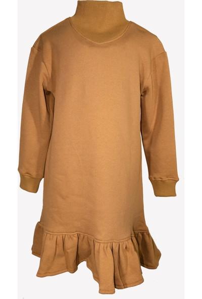 Ozmoz Açık Kahve Fırfırlı Kışlık Kız Çocuk Elbise