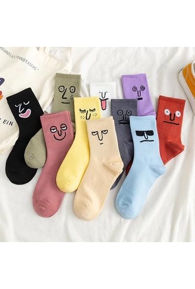 Fuba Unisex Renkli Yüz Desenli Tenis Çorap 10'lu