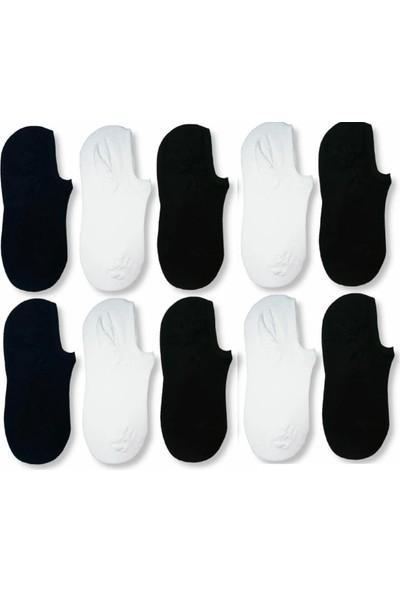 Fuba 10 Çift Erkek Siyah+Beyaz Görünmez Spor Ayakkabı Çorabı