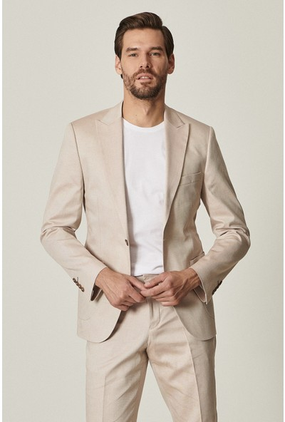 Altınyıldız Classics Ekstra Slim Fit Bej Spor Koton Takım Elbise