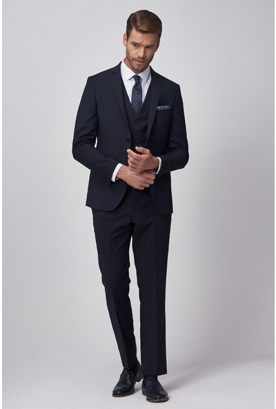 Altınyıldız Classics Slim Fit Dar Kesim Düz Lacivert Su Geçirmez Yelekli Nano Takım Elbise