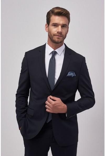 Altınyıldız Classics Slim Fit Dar Kesim Düz Lacivert Su Geçirmez Nano Takım Elbise