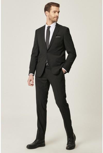 Altınyıldız Classics Slim Fit Dar Kesim Düz Siyah Su Geçirmez Nano Takım Elbise