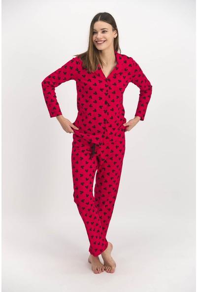 Rozalinda Mıckey Mouse Kırmızı Kadın Gömlek Pijama