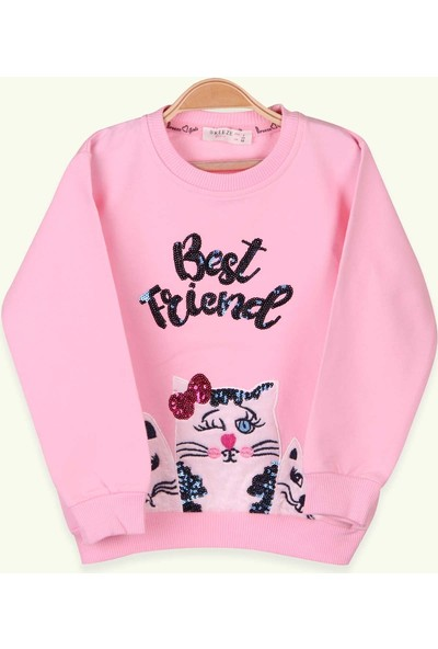 Breeze Kız Çocuk Sweatshirt Kedi Nakışlı Pullu Pudra (3-8 Yaş)