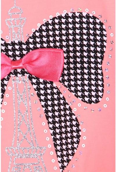 Breeze Kız Çocuk Taytlı Takım Fiyonklu Kazayağı Desenli Somon (3-8 Yaş)