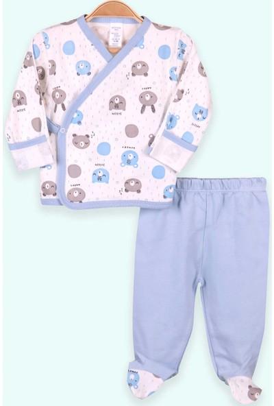 Breeze Erkek Bebek Hastane Çıkışı 3 Lü Kendinden Eldivenli Ayıcıklı Tavşanlı Bebe Mavisi (0-3 Ay-4 Ay)