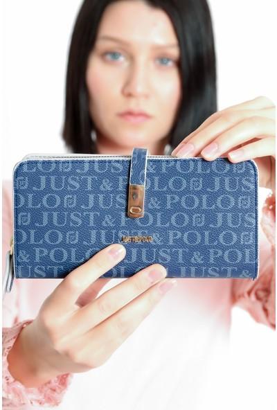 Just Polo Kadın Lacivert Silinmez Baskılı Cüzdan