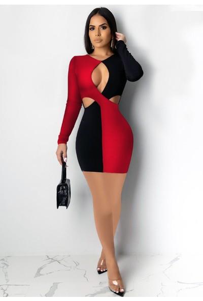 Ergü Siyah Kırmızı Krep Kumaş Pencere Detaylı Kadın Uzun Kol Elbise ERGÜ1449-2 L