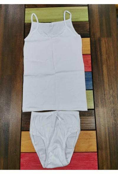 Defne Kız Çocuk Beyaz Slip Dantelli Alt Üst Set DFN102