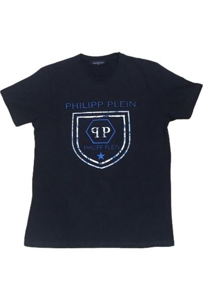 Philipp Plein Erkek Siyah Sıfır Yakalı Gofre Kabartma Baskılı Kısa Kollu Penye Tişört