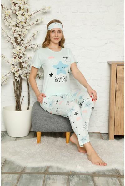 Akbeniz Kadın %100 Pamuk Penye Kısa Kol Pijama Takım 3342