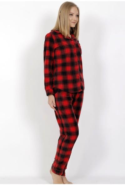 Vienetta Kadın Polar Uzun Kol Normal Beden Ekose / Kareli Desen Kırmızı Pijama Takım