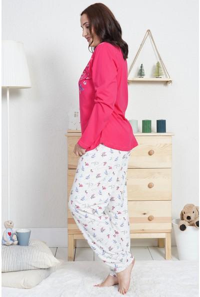 Vienetta Kadın Suprem Uzun Kol Büyük Beden Çiçek Desenli Desen Beyaz Pijama Takım