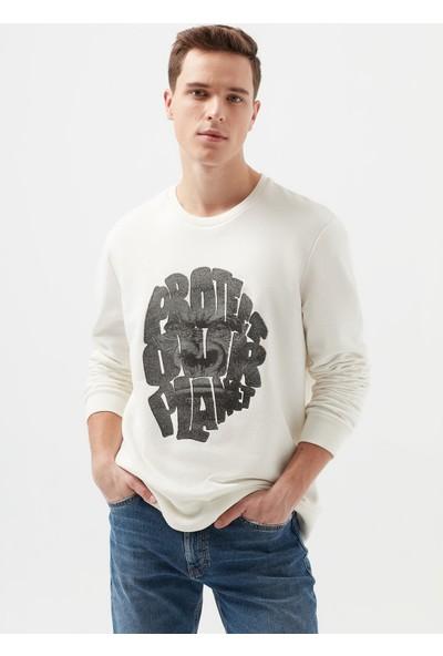 Mavi Erkek Slogan Baskılı Beyaz Sweatshirt 066586-30701