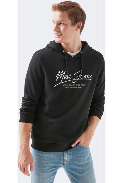 Mavi Erkek Mavi Jeans Baskılı Kapüşonlu Siyah Sweatshirt 066522-900