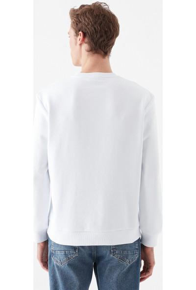 Mavi Erkek 1992 Baskılı Beyaz Sweatshirt 066852-620