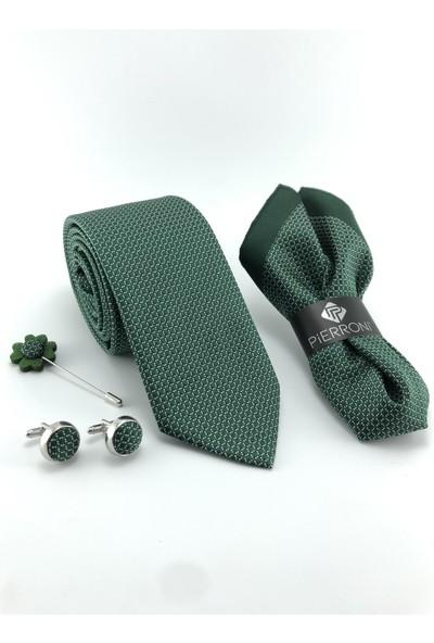 Pierroni Yeşil Kravat 4'lü Özel Ahşap Kutulu Set