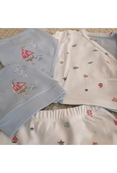 Babydoll Erkek Bebek Pamuklu Beşli Denizci Hastane Çıkışı