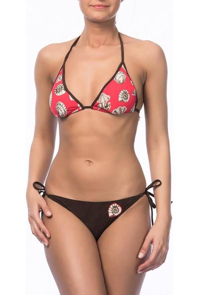 Argento Kadın Desenli Üçgen Bikini Takımı 00-210-4027