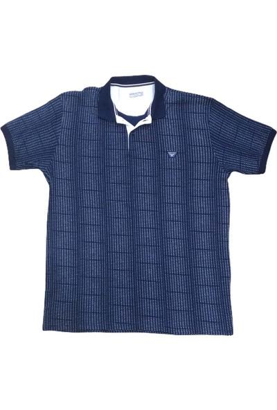 Armani Erkek Lacivert Büyük Beden Polo Yakalı Düğmeli Desenli Kısa Kollu Pamuklu T-Shirt