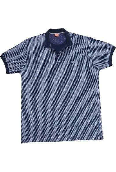 Boss Erkek Lacivert Büyük Beden Polo Yakalı Düğmeli Desenli Kısa Kollu Pamuklu T-Shirt