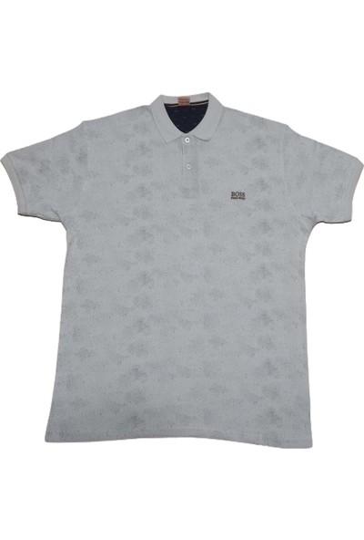 Boss Erkek Beyaz Büyük Beden Polo Yakalı Düğmeli Noktalı Kısa Kollu Pamuklu T-Shirt