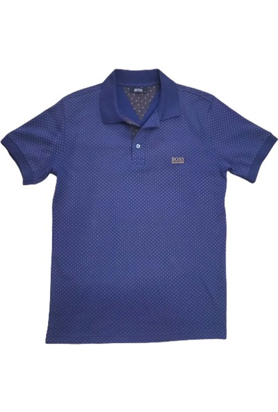 Boss Erkek Lacivert Polo Yakalı Düğmeli Kısa Kollu Desenli Pamuklu T-Shirt
