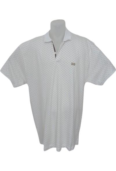 Boss Erkek Beyaz Polo Yakalı Düğmeli Kısa Kollu Desenli Pamuklu T-Shirt