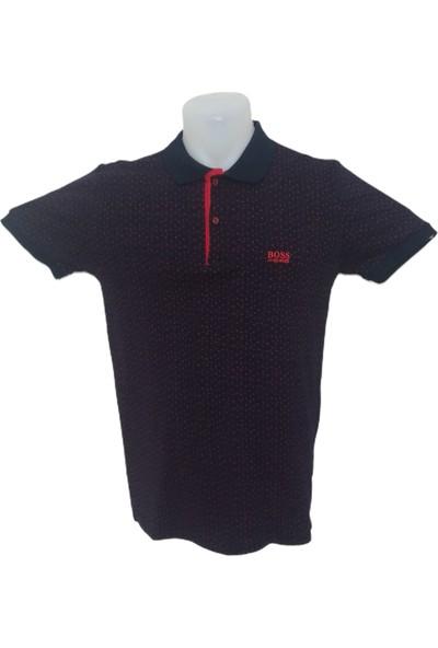 Boss Erkek Siyah Polo Yakalı Düğmeli Nokta Desenli Kısa Kollu Pamuklu T-Shirt